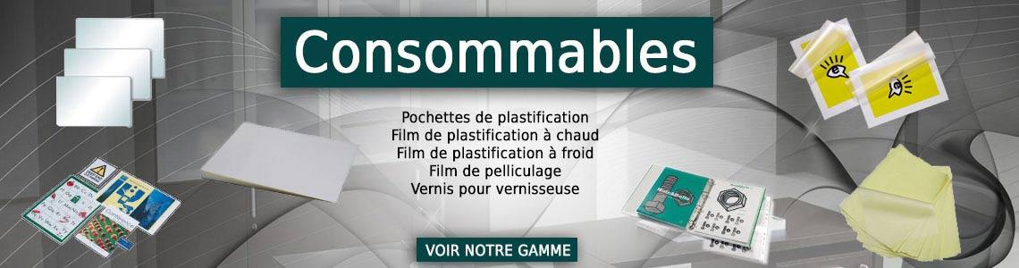 Consommables pour plastifieuse, laminateur et pelliculeuse